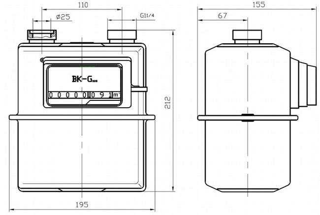 Габаритные размеры счётчиков BK G1.6 - BK-G4