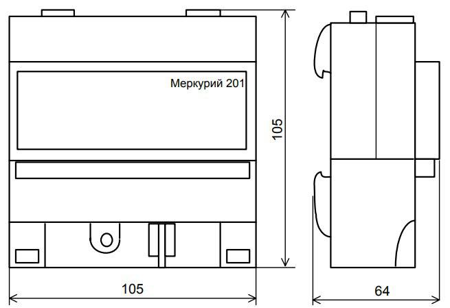 Габаритный размеры счётчика - Меркурий 201