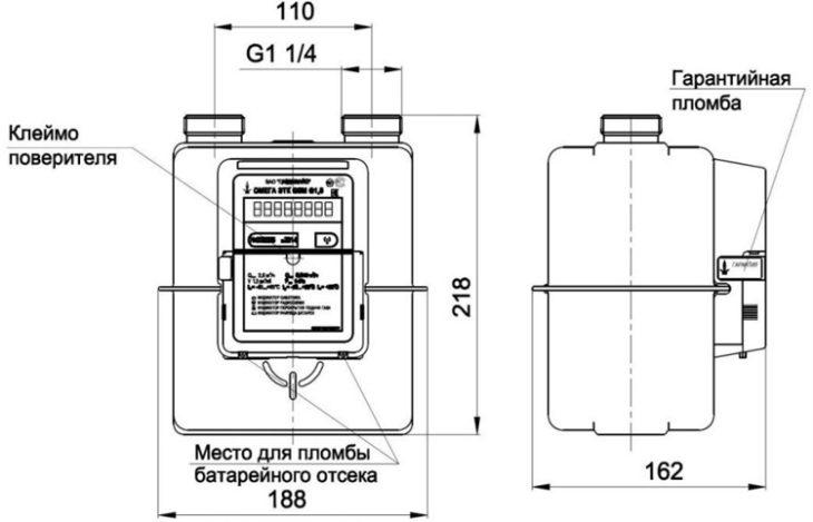 габаритные-и-присоединительные размеры счётчика - Омега G4