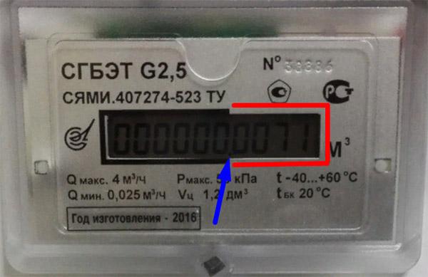 Снятие показаний со счётчика - СГБЭТ G2.5