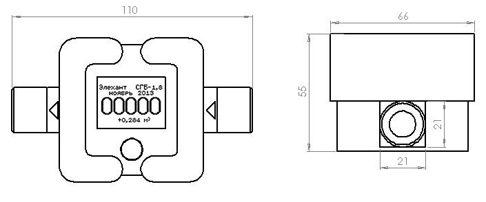 Размеры счётчика - Элехант СГБ-1.8