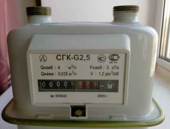 Вид счётчика - СГК G2.5