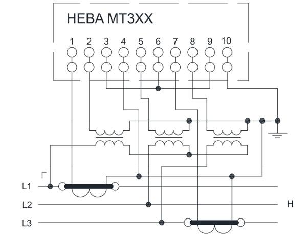 Схема включения счётчика НЕВА МТ314 через два трансформатора тока и три трансформатора напряжения в трёхпроводную сеть