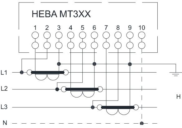 Схема включения счётчика НЕВА МТ 314 через трансформаторы тока в четырёхпроводную сеть