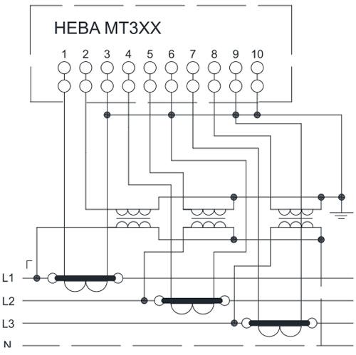 Схема включения счетчиков НЕВА МТ 314 через трансформаторы тока и трансформаторы напряжения в четырёхпроводную сеть