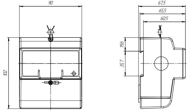 Размеры счётчика электроэнергии - Нева 124