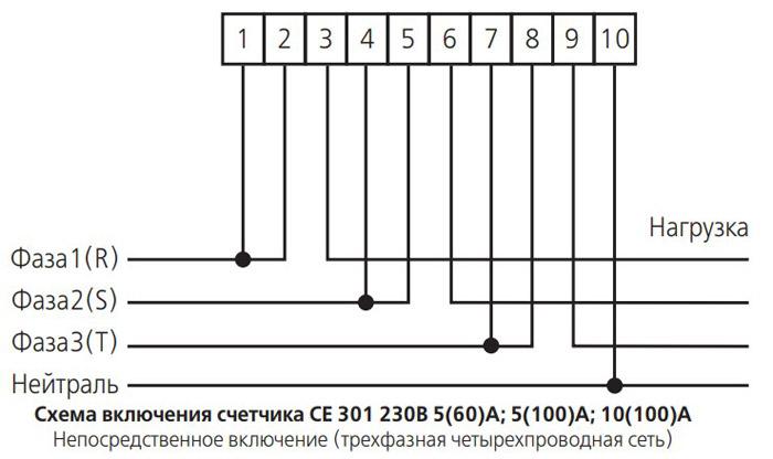 Схема непосредственного подключения счётчика - Энергомер СЕ301