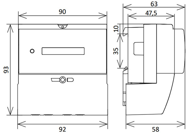 Размеры счётчика электроэнергии - Нева 106