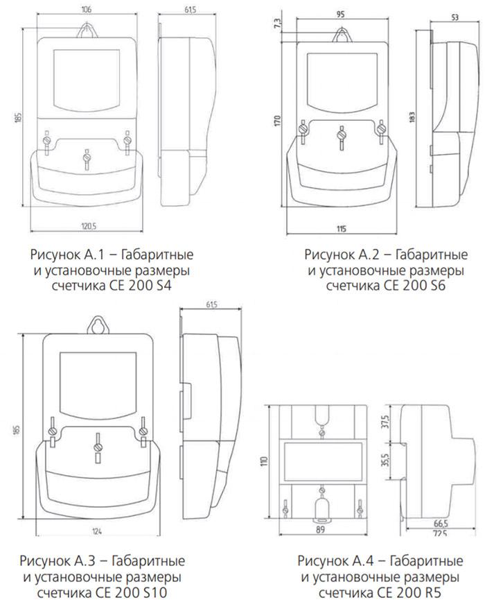 Размеры счётчиков электроэнергии - Энергомер СЕ200