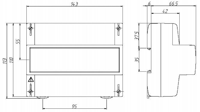 Размеры счётчика - Энергомера СЕ300 R31
