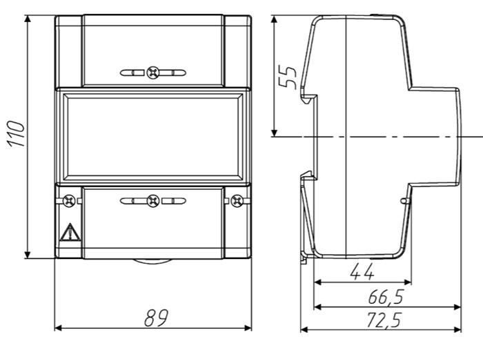 Размеры счётчика - Энергомера СЕ208 R5