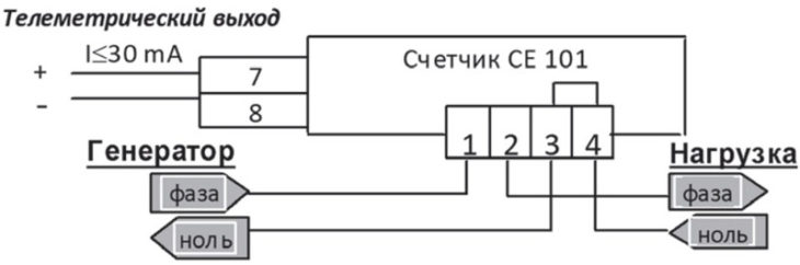 Схема подключения счётчика - Энергомер СЕ101