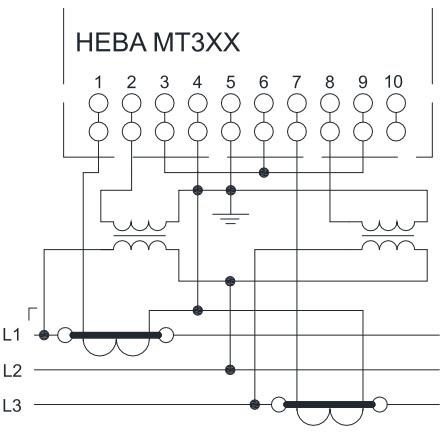 Схема включения счетчиков НЕВА МТ 314 через трансформаторы тока и трансформаторы напряжения в трёхпроводную сеть