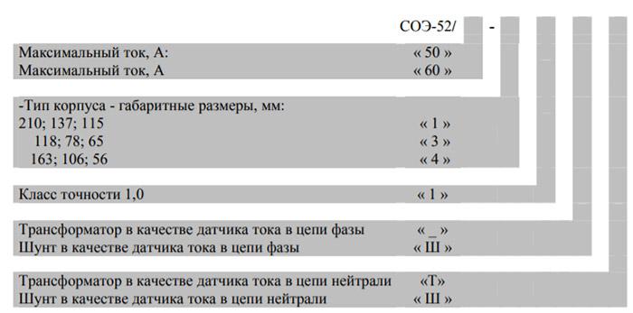 Расшифровка маркировки счётчика - СОЭ 52